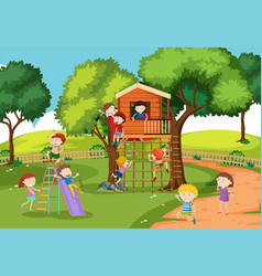 children at the treehouse vector image