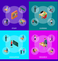 children student and teacher education concept vector image