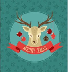 Christmas background with hipster deer and ribbon vector