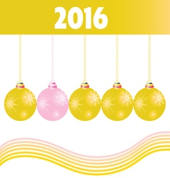 christmas ball gold 2016 vector image