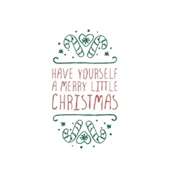 Christmas label with text on white background vector image