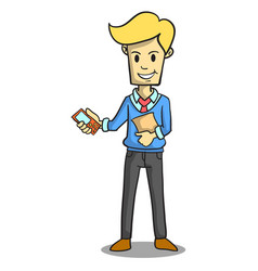 Collection of businessman with phone and file vector