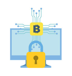 Computer monitor bitcoin cryptocurrency security vector