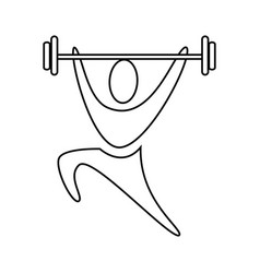 Contour pictogram man weightlifting icon vector