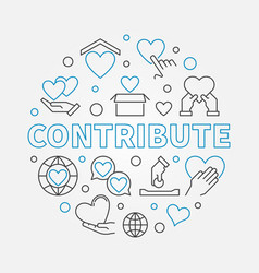 contribute round in thin line vector image
