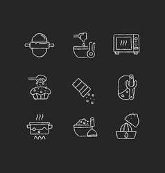 Cooking chalk white icons set on dark background vector