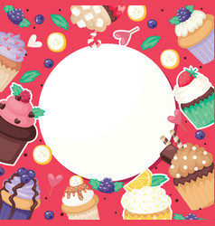 Cupcake poster pattern cute cake food background vector