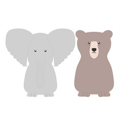 Cute bear grizzly and elephant vector