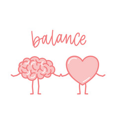 Cute pink brain and heart holding hands funny vector