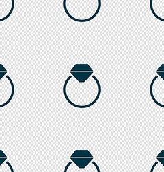 Diamond engagement ring icon sign Seamless pattern vector image