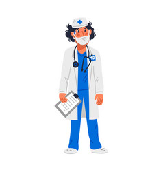 doctor tired doctor in medical face mask vector image