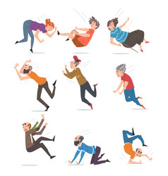 Elderly man and woman falling down set accident vector
