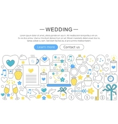 elegant thin flat line Wedding concept vector image