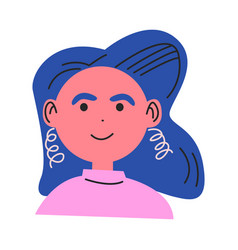 Face smiling woman with blue colored hair vector