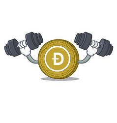 Fitness dogecoin character cartoon style vector