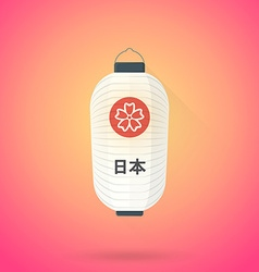 Flat abstract white japan lantern icon vector