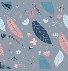 Flowers and leaf pattern pretty spring pastel vector