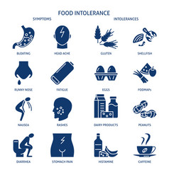 food intolerance icon set in simple style vector image
