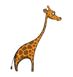 Funny cartoon giraffe on white background vector image vector image