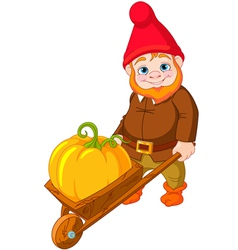 Garden Gnome with wheelbarrow vector