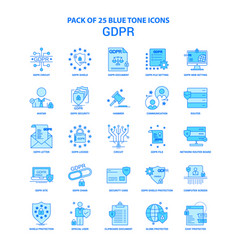 Gdpr blue tone icon pack - 25 icon sets vector