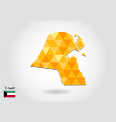 geometric polygonal style map of kuwait low poly vector image