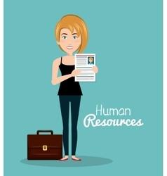 girl portfolio cv human resources vector image