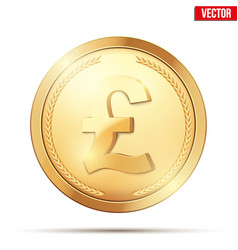 Gold coin with pound sign vector
