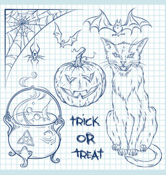 Hand drawn halloween doodles collection vector