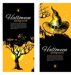Hand drawn set of Halloween banners vector