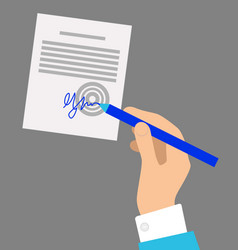 Hand with pen signing document on grey background vector