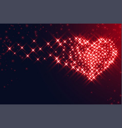 hearts made with sparkles for valentines day vector image