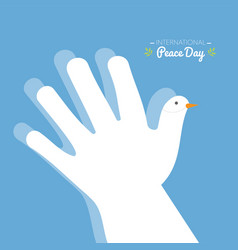 international peace day with hand making the vector image