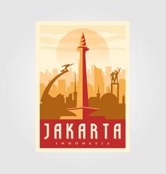jakarta skyline landmark poster vintage minimal vector image