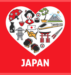 Japan promotional poster with country symbols vector