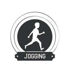 joggin people label vector image