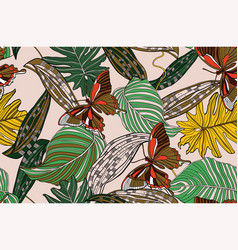 Jungle bright flowers and leaves vector