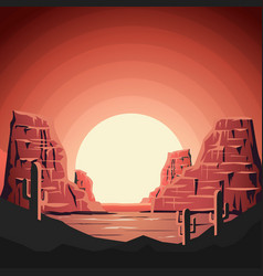 Landscape of desert with mountains in flat style vector