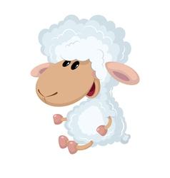 Little lamb sits vector