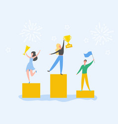 man and woman celebrating victory achieving reward vector image