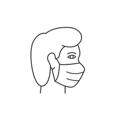 man in protective mask line icon on white vector image