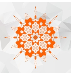 Mandala in orange color on gray triangles mesh vector