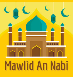 Mawlid an nabi concept background flat style vector