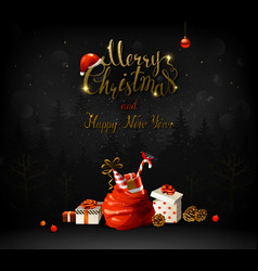 Merry christmas and happy new year calligraphic vector