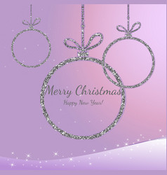 merry christmas and happy new year silver vector image