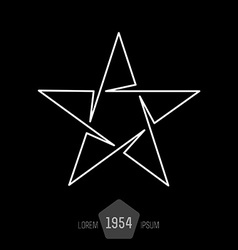 minimal monochrome vintage star made of thin lines vector image
