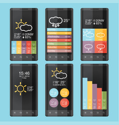 mobile phone infographics in flat color design vector image