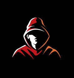 Mysterious man in a hood on a dark background vector