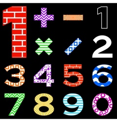 Numbers set different vector image
