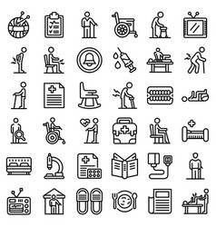 Nursing home icons set outline style vector